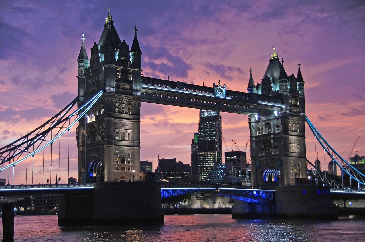 London Tower Bridge in the sunset